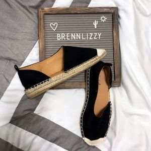 Black Espadrille Flats Slip-On Inner Cut-Out NEW